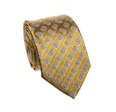 Ocher Tie with Blue Paisley