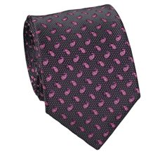 Black and Pink Tie with Paisley