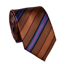 Blue and Brown Stripes Natural Silk Tie