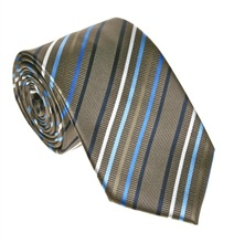 Brown and Blue Striped Tie