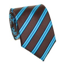 Brown and Turquoise Stripes Tie