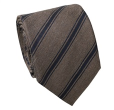 Blue and Brown Stripes Wool Tie