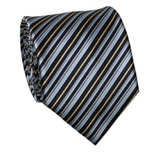 Black and Blue Striped Tie