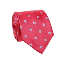 Red Natural Silk Tie with Flowers
