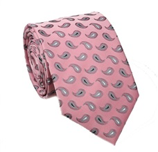 Pink Tie with Grey Paisley