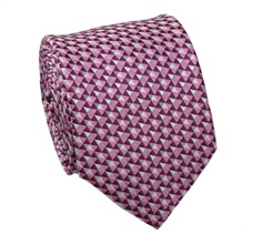 Pink Tie with Geometric Design