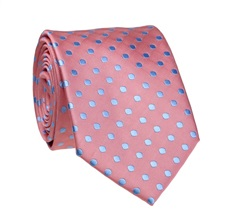 Pink Tie with Blue Dots