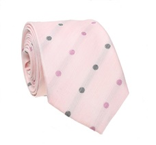 Pink Silk Tie with Grey Dots
