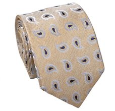 Yellow Silk Tie with Paisley