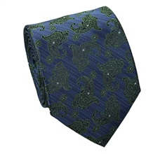 Blue Natural Silk Tie with Green Paisley