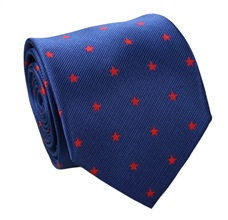 Blue Natural Silk Tie with Red Stars