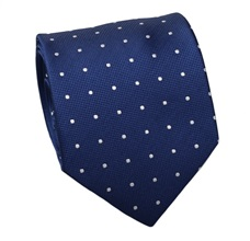 Blue Natural Silk Tie with White Dots