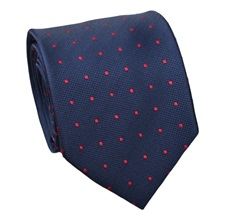 Blue Natural Silk Tie with Red Dots