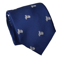 Blue Silk Tie with White Scooter