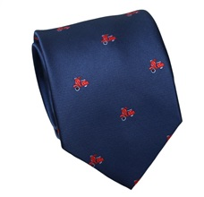 Blue Natural Silk Tie with Red Scooters