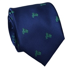 Blue Silk Tie with Green Scooters