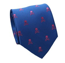 Royal Blue Silk Tie with Pink Skulls