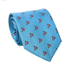 Turquoise Silk Tie With Scooters