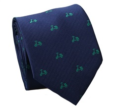 Blue Natural Silk Tie with Green Scooters