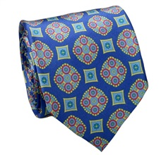 Royal Blue Natural Silk Tie with Florentine Design