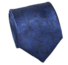 Blue Brocade Natural Silk Tie