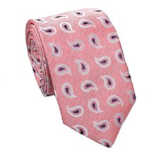 Coral Silk Tie with Paisley