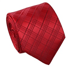 Red Tartan Natural Silk Tie