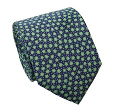Green Flowers Natural Silk Tie