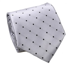 Grey Natural Silk Tie with Black Dots