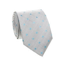 Grey Silk Tie with Daisies
