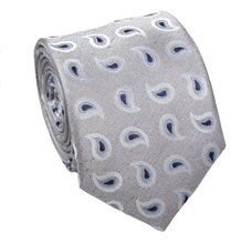 Grey Silk Tie with Paisley