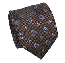 Brown Silk Tie with Blue Flowers
