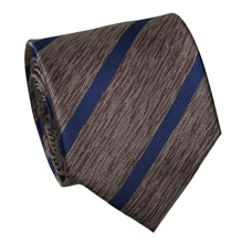 Brown Silk Tie with Blue Stripes