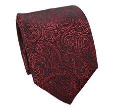 Black Silk Tie with Red Paisley