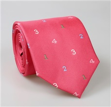 Fuchsia Numbers Natural Silk Tie