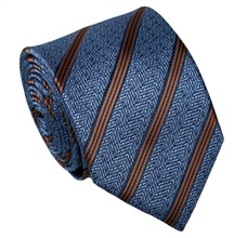Blue and Brown Stripes Silk Tie
