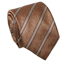 Brown Silk Tie with Stripes