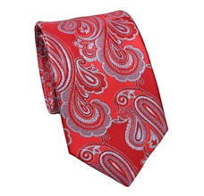 Red Silk Tie with Paisley