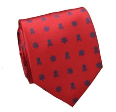Red Silk Tie with Blue Skulls