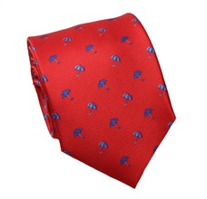 Red Silk Tie with Blue Umbrellas