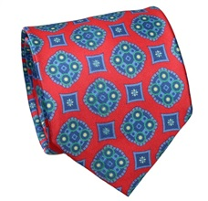 Red Natural Silk Tie with Florentine Design
