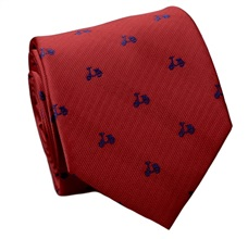 Red Natural Silk Tie with Scooters
