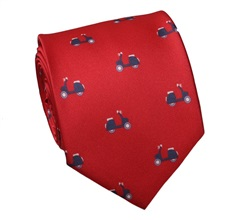 Red Natural Silk Tie with Blue Scooters