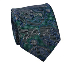 Green Natural Silk Tie with Blue Paisley