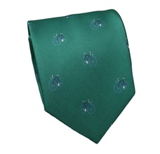 Green Silk Tie with Bicycles