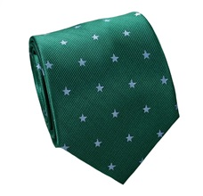 Green Natural Silk Tie with Blue Stars