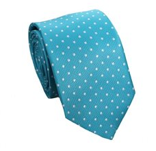 Turquoise Tie with White Dots