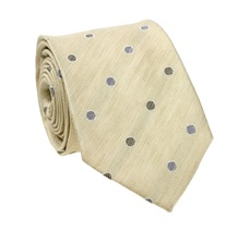 Green Natural Silk Tie with Grey Dots