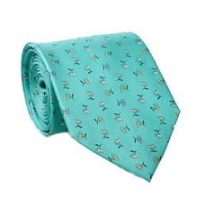 Green Natural Silk Tie with Flowers