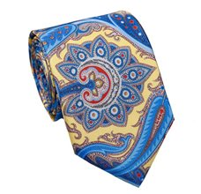 Yellow Paisley Natural Silk Tie and Pocket Square